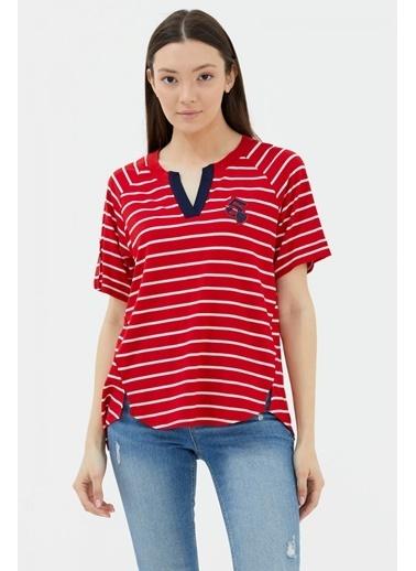 Sementa Apolet Kol V Yaka Tshirt - Kırmızı Kırmızı